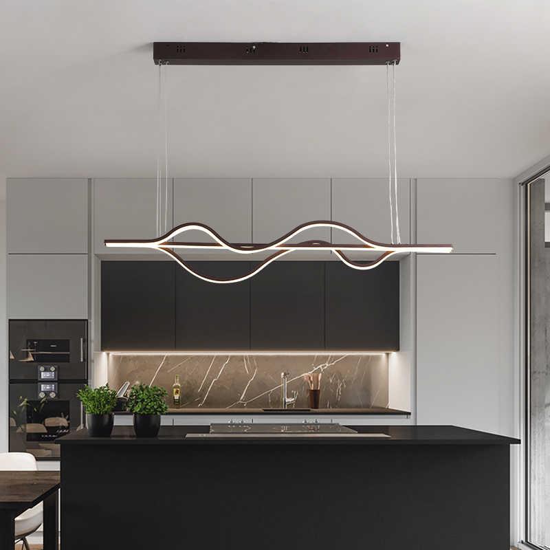 L1000mm נברשת מרחוק בקר קפה גימור תליית מנורת מודרני Led Dimmable נברשת חדר אוכל מטבח Żyrandol