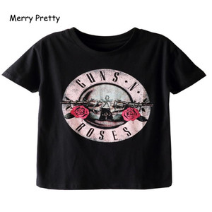 Merry Pretty black t shirt women GUN N ROSES print t-shirt vintage rock cotton t-shirt short sleeve streetwear tumblr top S-2XL(China)