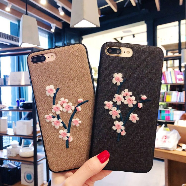 Case For iPhone 6 6S 7 Plus 8 plus X coque For Galaxy S8 S9 Embroidered flowers Retro style capa soft side back cover Fundas
