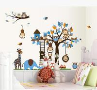 거실 TV 벽 아이 침실 이동식 로맨틱 만화 올빼미 나무 벽 스티커 창조적 인 장식 스티