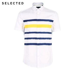 Image 5 - Selecionado masculino 100% algodão listrado na moda casual magro ajuste camisas de manga curta s