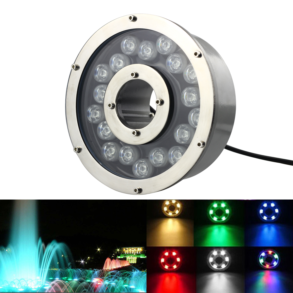 W 12W 18W Aluminum LED fountain Lamp IP68 White RGB Underwater Swimming Pool light AC/DC 12V-24V Pond Decorative Lighting underwater lights rgb led swimming pool light 24v ip68 waterproof 27w 316 stainless steel colorful changeable fountain lamp