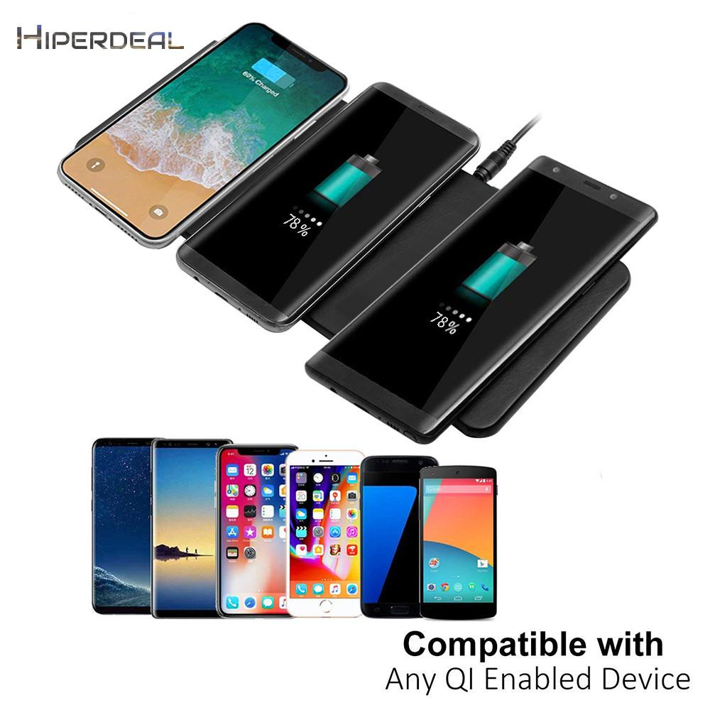 HIPERDEAL Fashion 3 Dock Qi Triple Wireless Charger Station Devices Pad Desktop For IPhone X For Galaxy Smart Charging Device wooden qi wireless charger for qi enabled devices