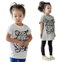 2-7Y Children Toddler Girls Cute Tiger Print Tee T-Shirts Baby Kids Girl Pullover Tops Blouse LS4