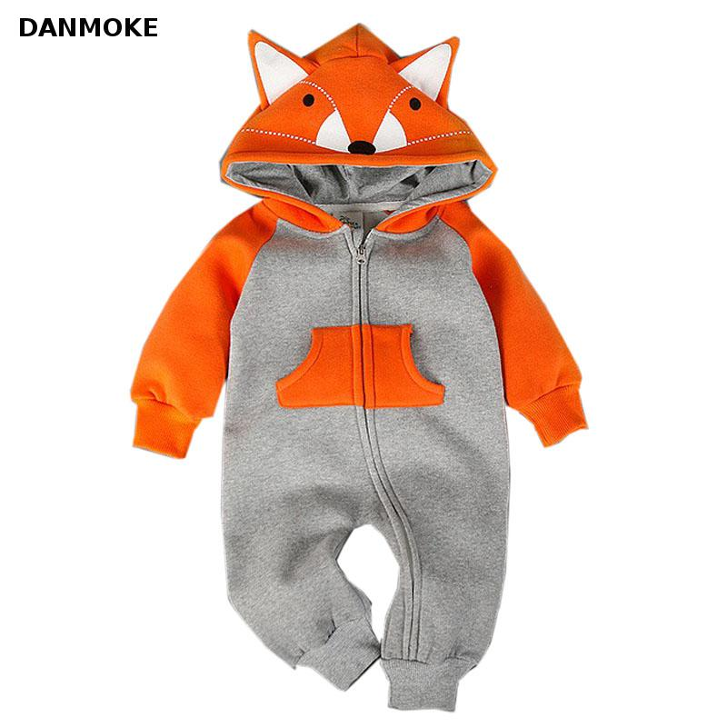 Baby Clothing Fox Bear Rompers Newborns Body Suit Kids Clothes Boy Girl Jumpsuit Baby Romper Hooded Warm Cotton Infant Overall infant baby girl rompers jumpsuit long sleeve for newborns baby boy brand clothing bebe boy clothes body romper baby overalls