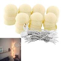 35 LED Romantic Cotton Ball Creative String Light Ivory White Party Patio Tree Decor Decoration 4