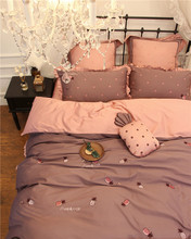 100%Cotton Cute Embroidery Pineapple Bedding Set 4/7Pcs King Queen Size Girls Decorative Duvet Cover Bed Sheet set Pillows Gift