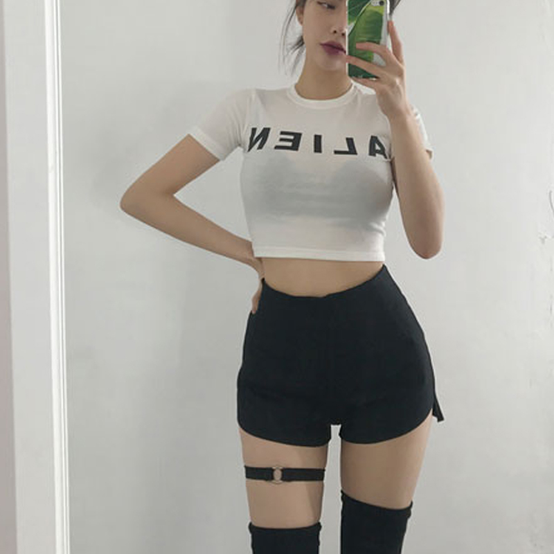 Summer Skinny High Waist Shorts Sexy Twerk Booty Shorts with Thigh Ring Women Hotpants Shorts Black White
