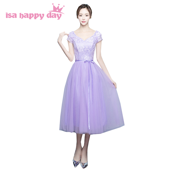 mix style sexy birthday faironly dresses lenght light purple lavender tulle bridesmaid dress vestidos formales 2017 H4112
