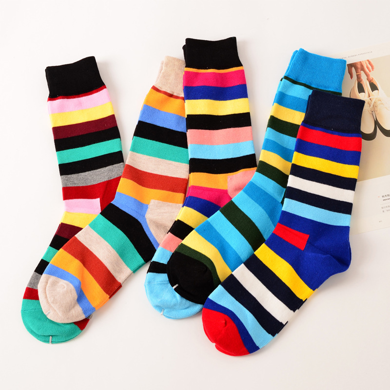 2018 hot sale casual new style Happy Socks mens combed cotton colorful socks brand man dress knit socks free shipping