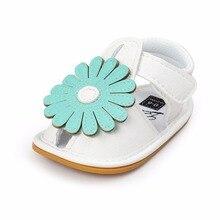 Summer Big Flower Baby Girl Shoes PU Hook & Look Rubber Sole Flat Heel Newborn Sandals Clogs Wholesale