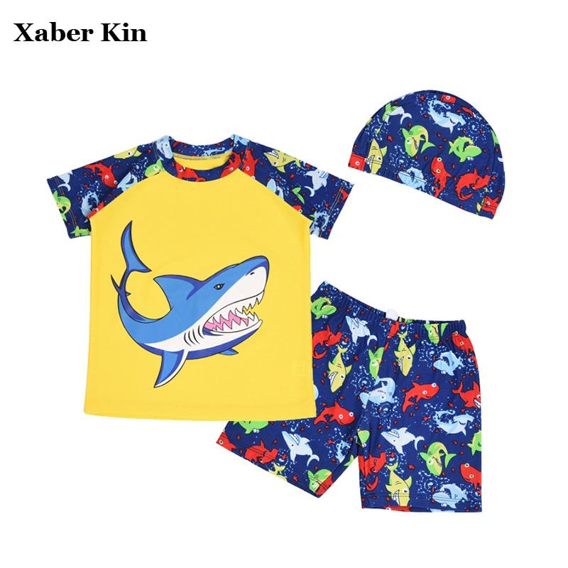 3pcs/set Boys Swimming Suits New 2017 Beachwear Swimsuit For Kids Boys Swim Caps Shirts Pants Boys Swimsuit G5-K364
