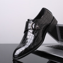 Plus Size 48 Pointed Toe Buckle Strap Flats Wedding Dress Men Formal Shoes Leather Oxford Leather Men's Wedding Shoes