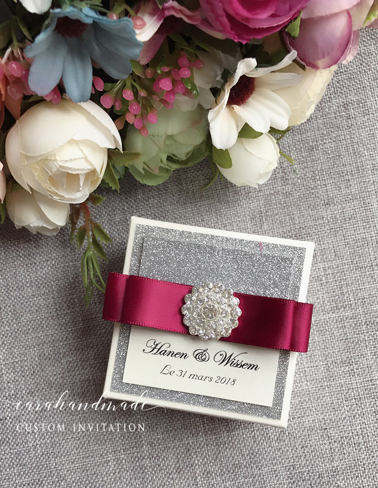 CA0805 DIY Silver Glitter Square Wedding Favor Gift Box