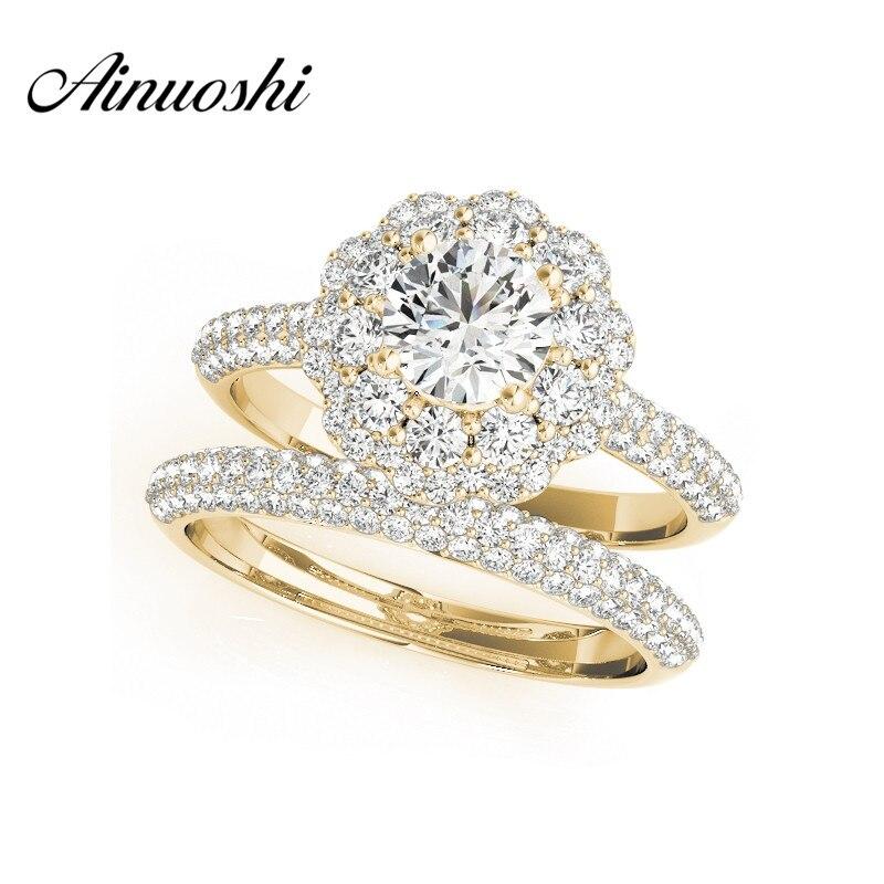 Ainuoshi Мода 925 стерлингового серебра желтое золото Цвет Обручение цветок свадебные кольца Наборы для ухода за кожей SONA 0.5 карат круглой огранк