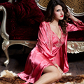 XIFENNI Brand Satin Silk Bathrobes Apple Red Two-Piece Robe Sets Embroidery Lace Sleepwear Faux Silk Nightgowns Female 9222