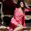 Xifenni marca satén de seda albornoces apple rojo de dos piezas conjuntos de traje bordado de encaje ropa de dormir camisones de seda del faux femenino 9222