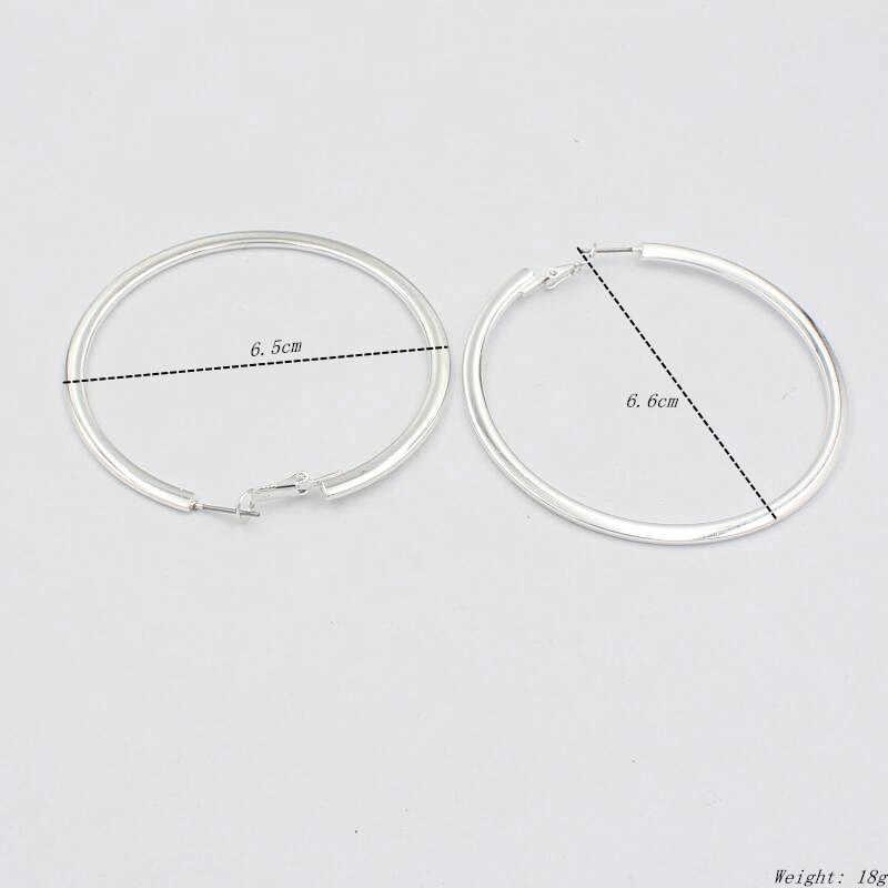 6.5 cm cercle lisse grand cerceau boucles d'oreilles femmes fête tenue de club ours classique boucle d'oreille brincos filles cadeaux couleur or fj824