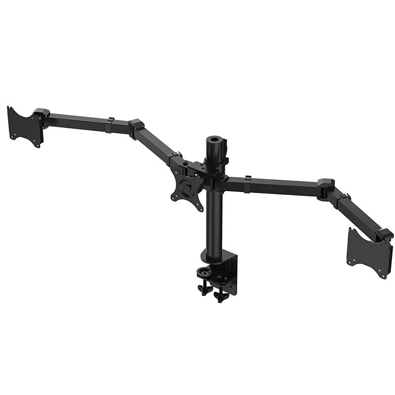 Desktop Clamping Full Motion 10 30 inch Triple Monitor Holder 360 Degree Three LED LCD Monitor Mount Arm Bracket 10kgs Per Arm in Monitor Holder from Computer Office