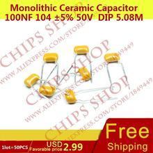 1 лот = 50 шт. монолитную Керамика конденсатор 100nf 104 5% 50 В DIP 5.08 мм 100000pf 0.1 мкФ