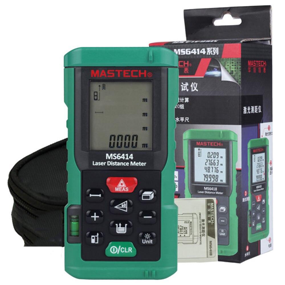 MASTECH MS6414 цифровой лазерный дальномер точность Лазерный дальномер 40 м +/-2 мм Площадь Объем лента расстояние измерительный инструмент