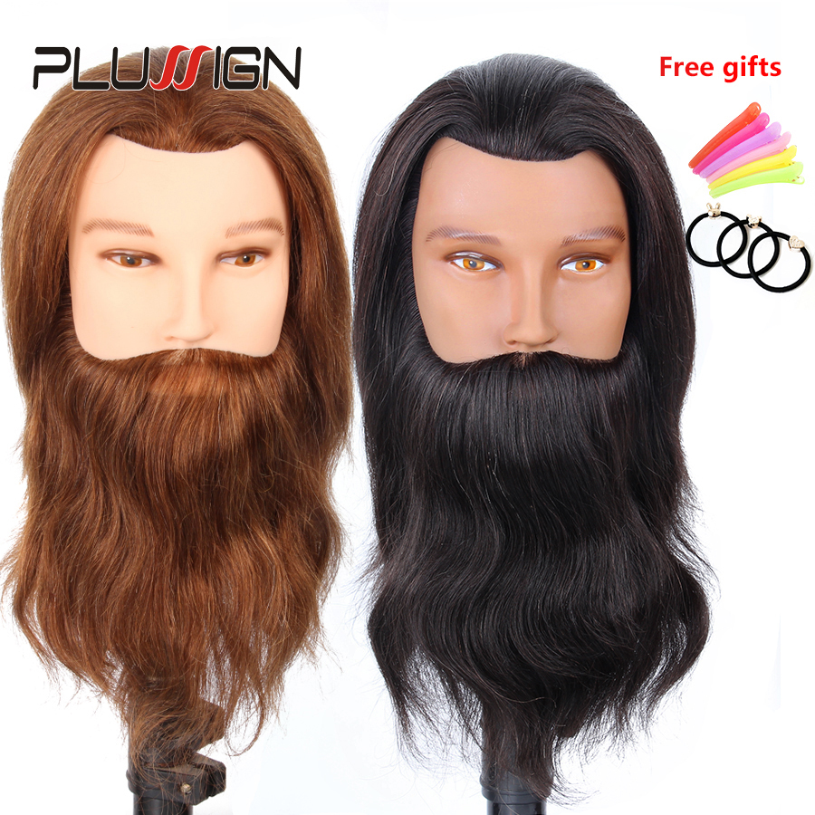 100% Real Human Hair Men Hairdressing Training Head Cutting Practice Mannequin Head with Big Beard For Salon image