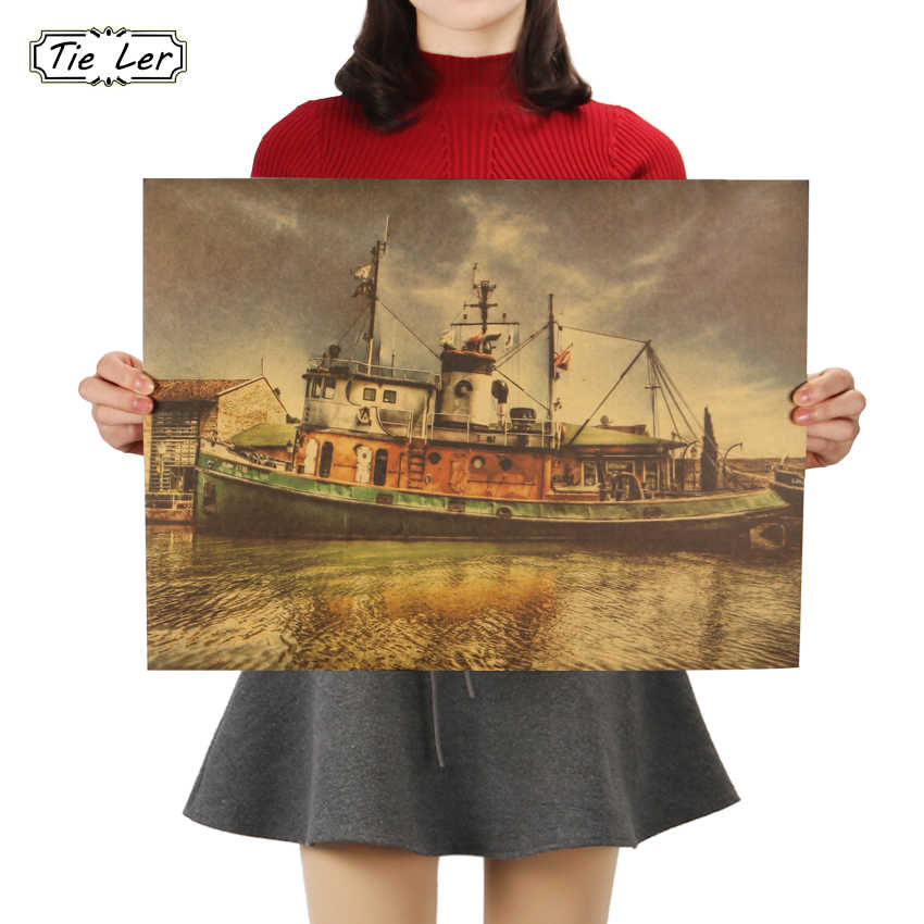 TIE LER The Dream Boat Poster Nostalgic Vintage Kraft Paper Wall Sticker Bar Cafe Decorative Painting 48X36cm