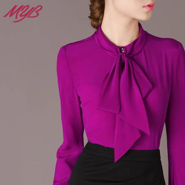 9e2d8f5ec85 Free Shipping 2015 Spring Fall Elegant Bow Collar Long Sleeve Purple Shirt  Blouse Career Tops For Woman Size M- XL B662M02