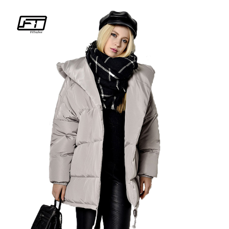 Fitaylor New 2019 Winter Women Parkas Irregular Loose Fit Bread Snow Hooded Jacket Plus Size 90% White Duck   Down   Maternity   Coat