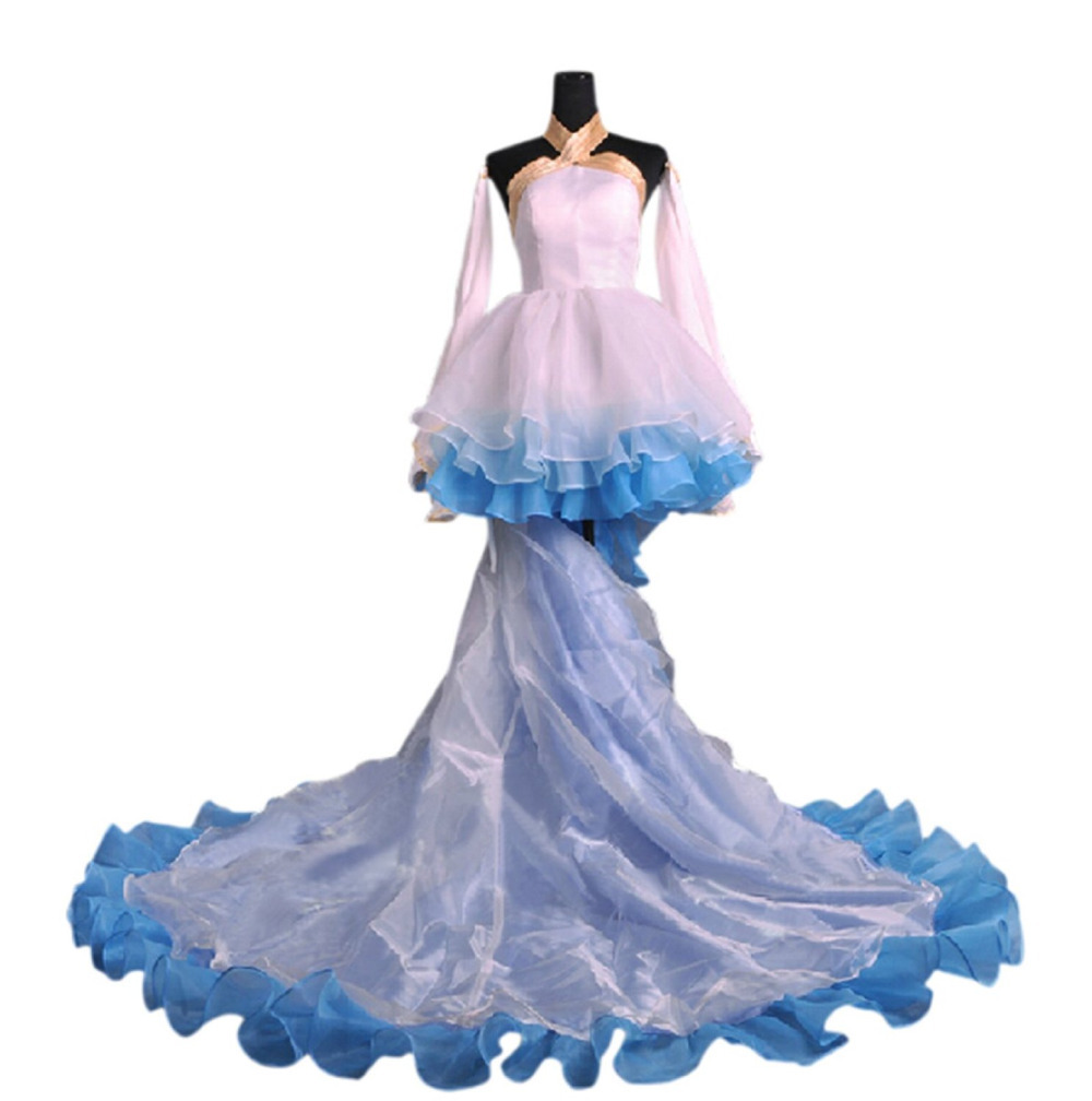 White&Blue Anime Vocaloid Hatsune Miku Cosplay Costume Princess Outfit