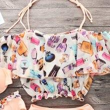 Halter Top Flower Brazilian Bikini Set Bathing Suit Summer Beach Wear Biquini