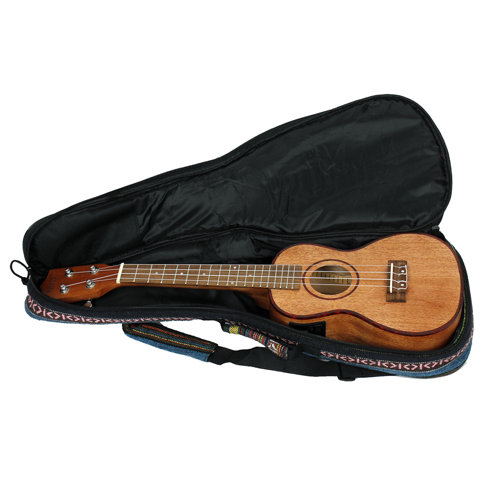 "24"" Ukulele Ukelele Uke Kit Sapele Wood with LCD EQ with Carry Bag Capo Strings Strap Finger Maraca Cleaning Cloth for birthday"