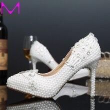 2016 weiße Perle Braut Kleid Schuhe Formale Kleid High Heels Spitz Hochzeitsbankett Partei Prom Schuhe 4 Zoll Stiletto ferse