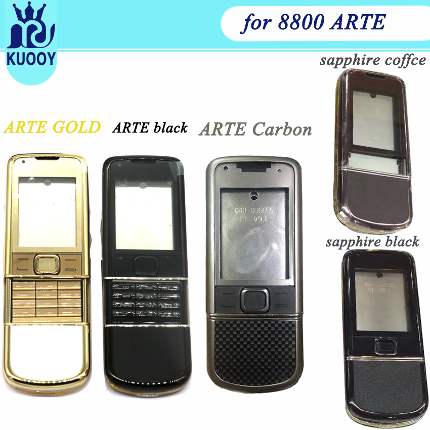 Full Housing For Nokia 8800 Arte Carbon 8800 ARTE sapphire Middle frame Plate Back Battery Cover with keyboard button