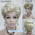 Women's Golden/blonde short curly wigs, high quality synthetic hair wig Hairpiece free shipping