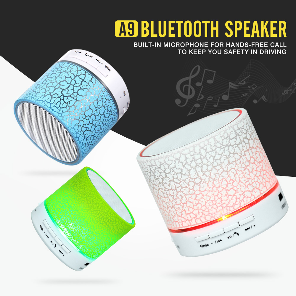 Zeepin A9 Wireless Bluetooth Speaker Portable LED MINI Hands Free TF USB Subwoofer Music Sound