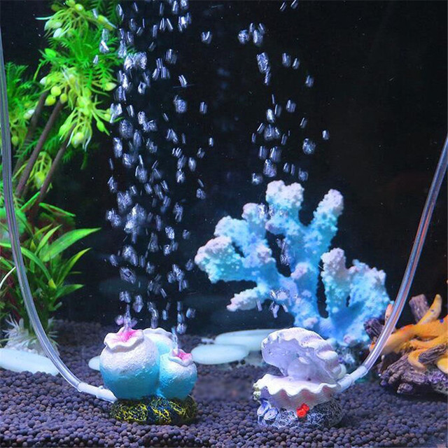 Flower shape Aquarium fish tank decor ornament oxygen pump air bubble stone air pump drive toy Ornament  1PCS