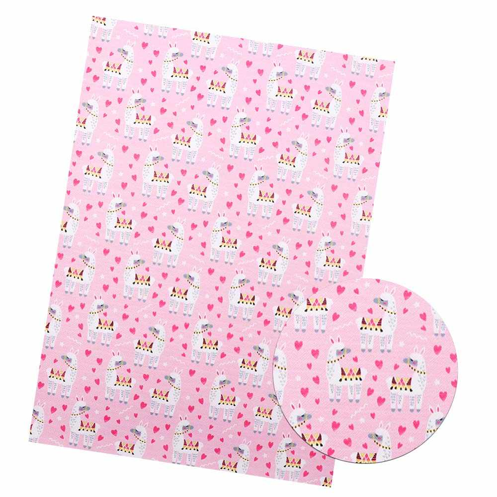 JOJO moños 22*30cm 1 pieza tela de cuero sintético de imitación para costura de Alpaca impreso hojas DIY lazos para el cabello ropa de costura para decoración del hogar
