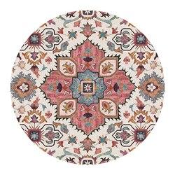 Retro indie Mandala okrągły dywan do salonu okrągła mata kwiat Nordic wydrukowano pokój dziecięcy duży geometryczny dywan do składania