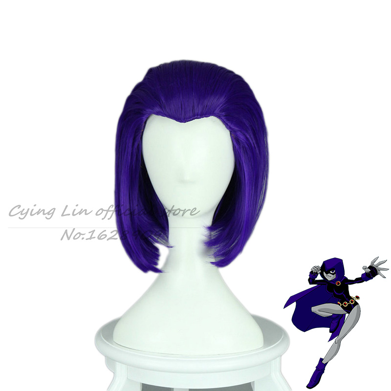 New Arrival Teen Titans Raven Cosplay Anime Cos Wig Purple -2411