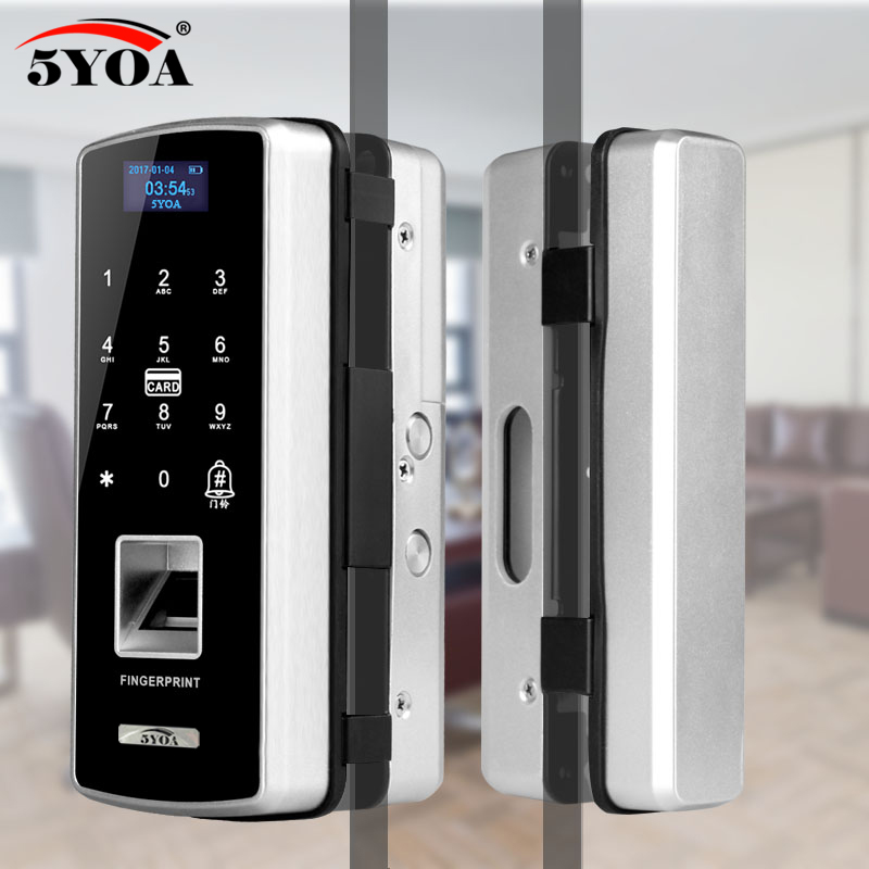 Glass Fingerprint Lock Digital Electronic Door Lock For Home Anti-theft Intelligent Password RFID Card Standalone Opener Smart image