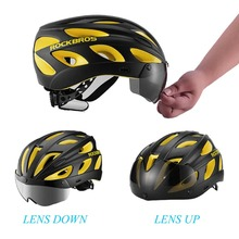 ROCKBROS Integrally-Molded Road Cycling Helmet Ultralight Magnetic Goggles Colorful MTB Downhill Bike Helmet Road Bicycle Helmet