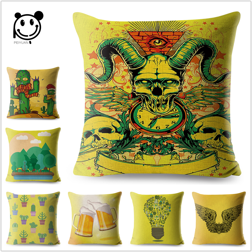 Yellow Cushion Cover Skull Cartoon Cactus Sofa Throw Pillows Decorative Cotton Line Square Pillow Case Car Home 45*45cm Peiyuan