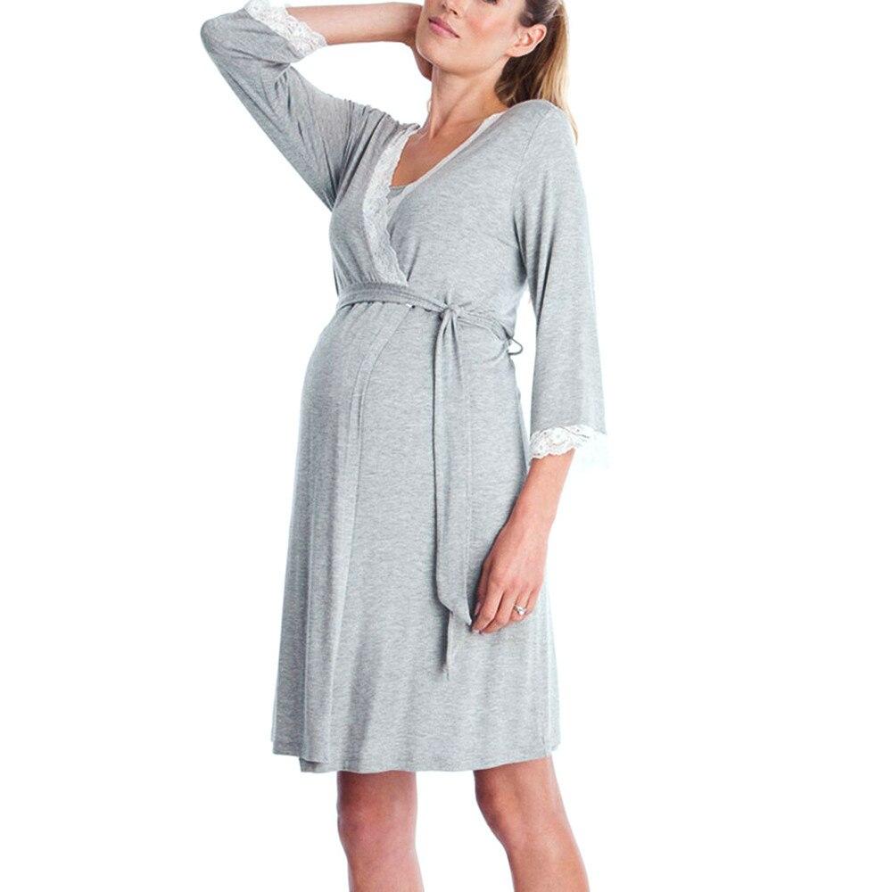 Womens Mother Lace Pregnants Casual Nursing Baby For Maternity Pajamas Night-Robe Dress Princess Dress #5