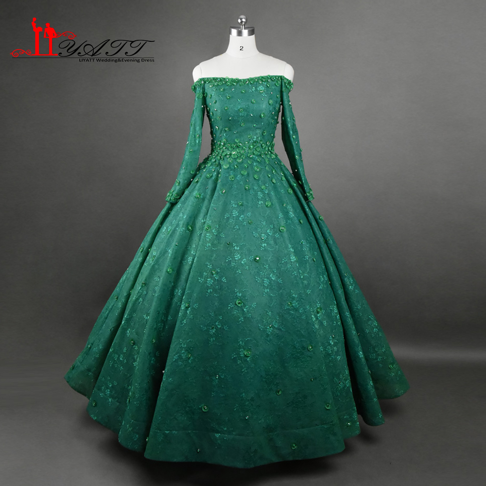 Online Shop Luxury 2017 New Arrival Evening Dresses Dark Green Long ...