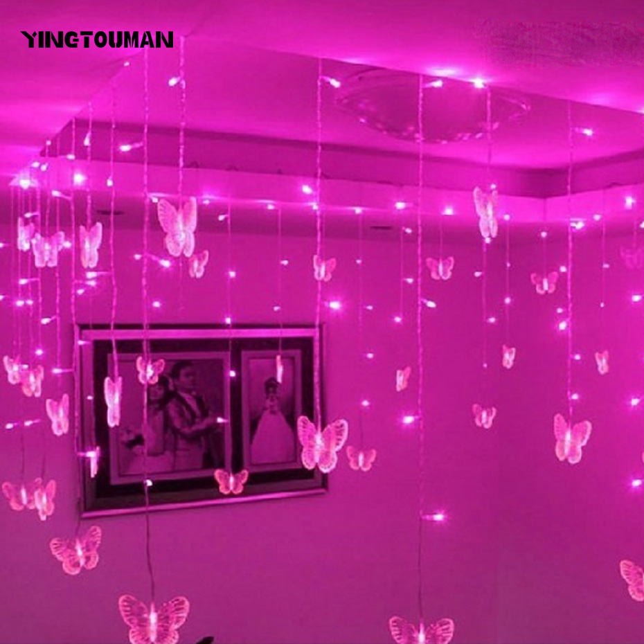 YINGTOUMAN Butterfly Icicle Light Plugs Curtain Lamp ...