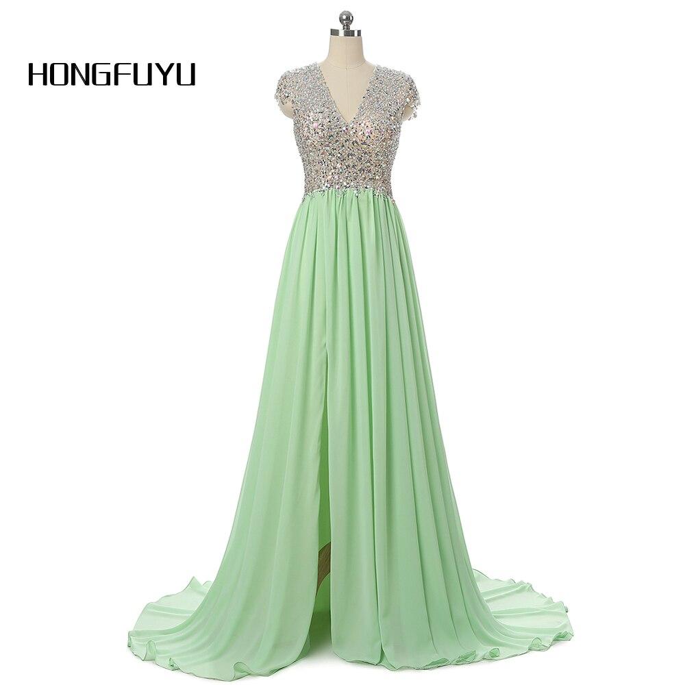 A Line Green Chiffon Long   Prom     Dresses   Beading V Neck Vestido De Festa Real Photos High Slit Backless Party   Dress   2019   Prom   Gown