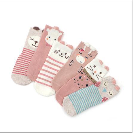 1-3 Year Child Sock New Autumn Spring 2019 Cartoon Boys Girls Kids Socks Non-Slip 6 Pairs Pack Socks