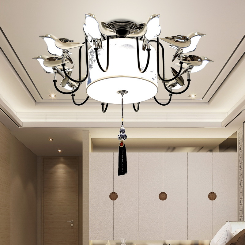 Personality bird new Chinese ceiling lamp living room study retro creative restaurant restaurant lighting Chinese style LU731346 chinese style wooden 1 2 3 heads lamps chinese restaurant new classical restaurant chandelier wooden sheepskin chandelier