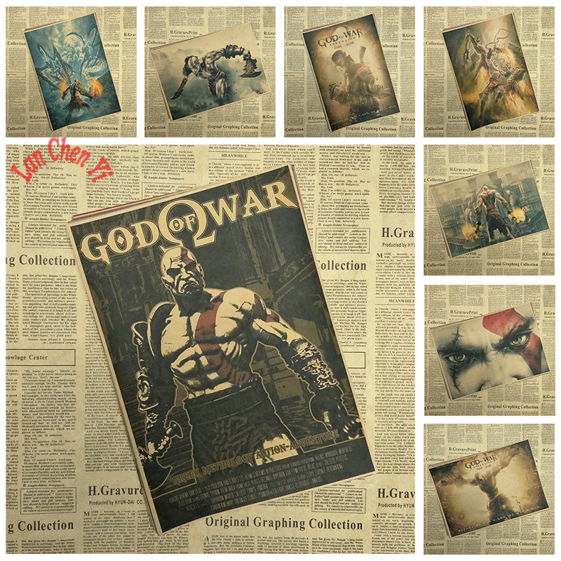 God of War Ghost Of Sparta Classic Game vintage Kraft Paper Poster Bar Cafe Living Room Decorative Paintings Free shipping